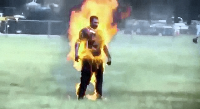 WHITE HOUSE PROTESTOR TURNED INTO A HUMAN FIREBALL